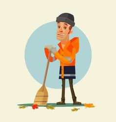 happy smiling yardman character sweeping leaves vector image vector image