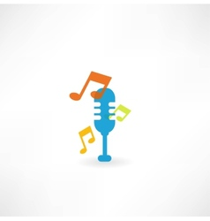 microphone with notes icon vector image vector image