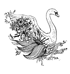 Abstract graphic swan print vector image vector image