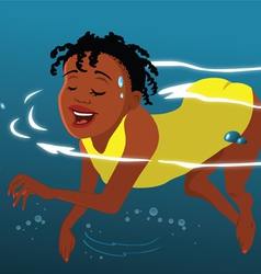 girl swimming the doggy paddle vector image