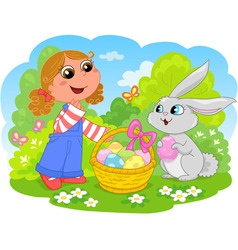 girl with easter bunny vector image