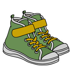 green childrens sneakers vector image
