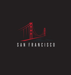 san francisco golden gate bridge design template vector image vector image