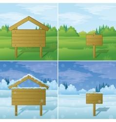 Wood sign on landscape set vector image vector image