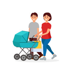 young family walking after shopping mother vector image vector image