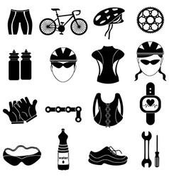 Bicycle rider icons set vector image vector image
