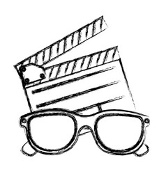 monochrome sketch with clapperboard cinema and 3d vector image