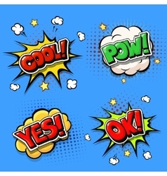 Set of Comic speech bubbles and dynamic explosion vector image vector image