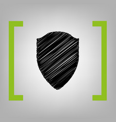 shield sign black scribble vector image