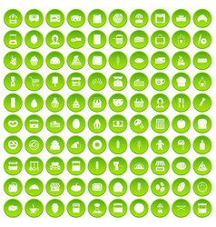 100 bakery icons set green vector