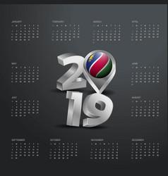 2019 calendar template grey typography vector