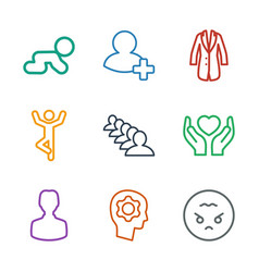 9 people icons vector image