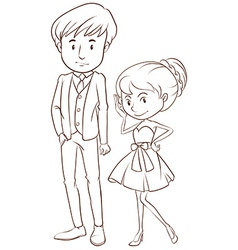 A simple sketch of a couple in formal attire vector