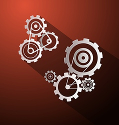 Abstract Paper Cogs - Gears on Red Background vector image