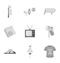 Advertising set icons in monochrome style Big vector