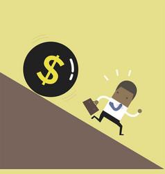 african businessman get away money ball down vector image