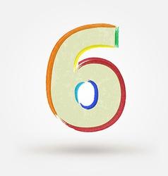 Alphabet letter number six Watercolor paint design vector