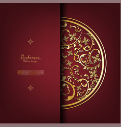 arabesque thai element pattern gold background vector image