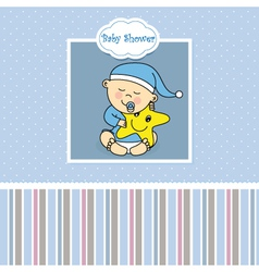 Baby boy birth card vector image