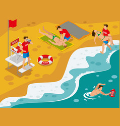 Beach lifeguards isometric composition vector