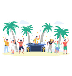 beach party with dj playing disco music people vector image