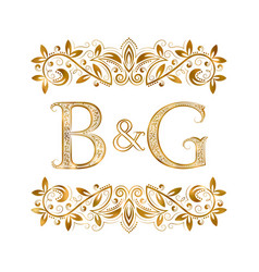bg vintage initials logo symbol letters b vector image