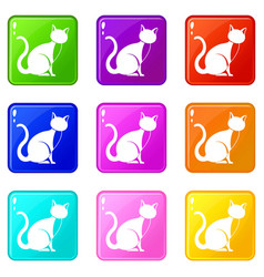 black cat icons 9 set vector image