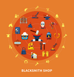 blacksmith shop signs composition vector image