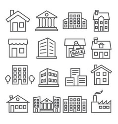 buildings and houses line icons on white vector image
