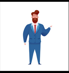 business man in suit standing smiling vector image