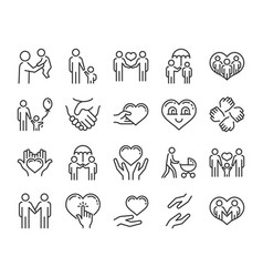 Care icon help and sympathy line icon set vector