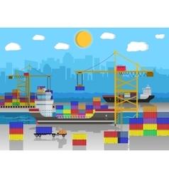 Cargo ship container crane truck port logistics vector