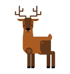 Carton wild deer animal flat vector