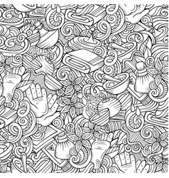 Cartoon cute doodles spa massage seamless pattern vector