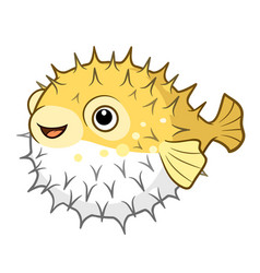 cartoon of a cute happy smiling puffer fish vector image