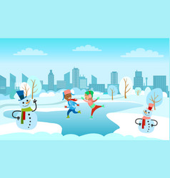 children skating on frozen ice lake in town park vector image