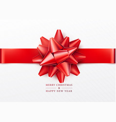 Christmas background white gift box with red bow vector