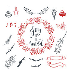 Christmas decoration hand drawn set set vector