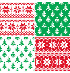 christmas pattern cross stitch collection winter vector image