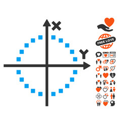 Circle plot icon with valentine bonus vector