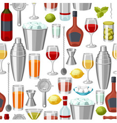 cocktail bar seamless pattern essential tools vector image