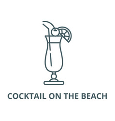 cocktail on beach line icon linear vector image