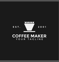 Coffee maker v60 manual brew logo design template vector