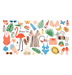 Collection bright colored summer clothes vector