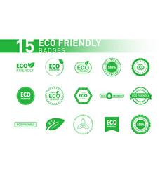 Collection eco friendly green badges design vector
