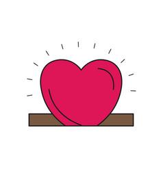Colorful silhouette closeup flat heart depositing vector