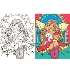 Colouring Book Of Angel Girl With Cat vector image