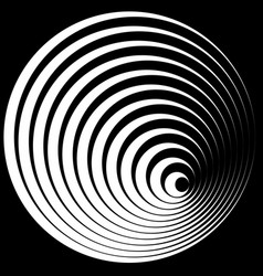 Concentric circles with stroke profile abstract vector