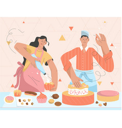 couple pastry chefs making sweets in kitchen vector image