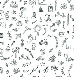 Creative seamless pattern with funny design vector